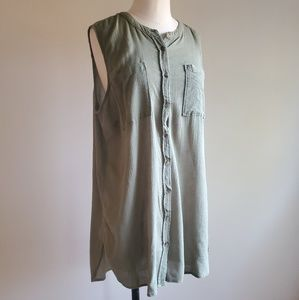 Army green cotton button up